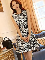 Hanyiou rotonda Collare Sleevless stampa floreale Vestito su misura