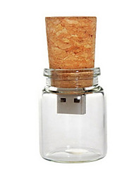 cheap -8 GB Glass Bottle with Cork USB Flash Pen Drive (Transparent)