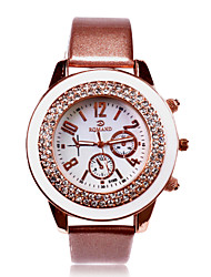 cheap -Personalized Gift Women's White Dial Stainless PU Band Analog Engraved Watch