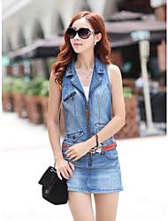 женская мода рукавов молнии джинсовое платье
