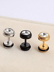 Brincos Curtos Jóias de Luxo Aço Titânio imitação de diamante Formato de Cruz Preto Prata Dourado Jóias Para Casamento Festa Diário Casual