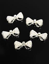 10pcs bianco perla perline stile papillon lega 3d decorazione nail art
