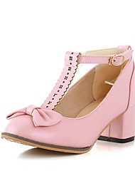 cheap -Women's Shoes Leatherette Summer Fall Chunky Heel With Buckle For Casual Dress Party & Evening White Pink Green