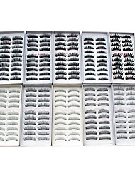 cheap -100PCS 10 Mixed Styles Natural Handmade Black Lengthening Thicker Fiber False Eyelashes