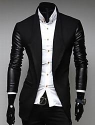 Cappotto Uomo Casual Tinta unita PU (Poliuretano) / Misto cotone / Tweed Manica lunga-Nero / Grigio