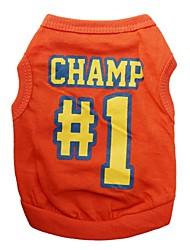 Chat / Chien T-shirt Orange Vêtements pour Chien Printemps/Automne Lettre et chiffre
