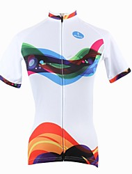 ILPALADINO Cycling Jersey Women's Short Sleeves Bike Jersey Tops Quick Dry Ultraviolet Resistant Breathable 100% Polyester Stripe Spring