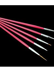 5pcs ont augmenté de nail art kits de pinceau de peinture de stylo de dessin rouge