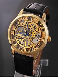economico -Oro elegante scheletro nera fascia di cuoio Manuale Uomo orologio meccanico