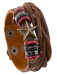 Classic Beads And Star 20cm Men's Brown Leather Leather Bracelet(1 Pc)