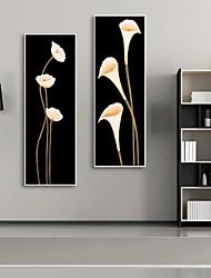economico -Floreale/Botanical Tele con cornice / Set con cornice Wall Art,PVC Bianco Senza passepartout con cornice Wall Art
