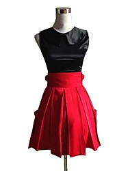 Inspired by Pocket Monster Little Monster Video Game Cosplay Costumes Cosplay Suits Solid Black / Red Sleeveless Top / Skirt
