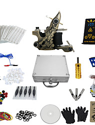 cheap -1 Gun Complete No Ink Tattoo Kit with All In One Engraved Tatoo Machine and Ep-2 Power (Contain a Suitcase)