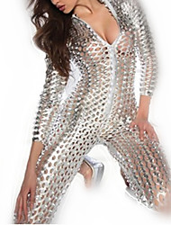 cheap -Shiny Hot Girl Sexy Uniform Silver Metallic Hollowed Leather Dress Zentai Halloween Costume