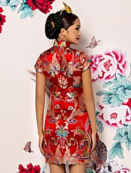 cheap -Small waist skirt bride toast clothing in cultivating flowers round Lapel sleeveless dresses.