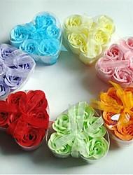 6 fleurs roses de savon en forme de coeur romantique créatif (couleur aléatoire)