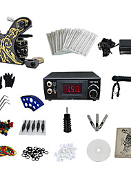 abordables -1 Gun Complete No Ink Tattoo Kit with LCD Power Supply