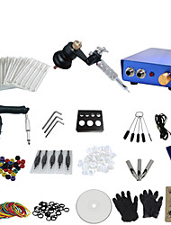 cheap -1 Gun Complete No Ink Tattoo Kit with Black Motor Machine and Blue Aluminium Alloy Power Supply
