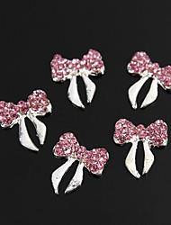 billige -10stk glitter pink krystal rhinestone bowknot 3d legering søm kunst dekoration