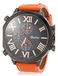Oulm Herren Militäruhr Armbanduhr Quartz Japanischer Quartz Leder Band Schwarz Orange Weiß Orange Gelb Blau