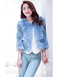 cheap -3/4 Sleeve Collarless Fox Fur Casual/Party Jacket(More Colors)