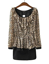 Women's Casual/Daily Sexy Sheath Dress,Leopard Round Neck Above Knee Long Sleeve Spring / Summer / Fall