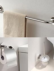 Недорогие -из нержавеющей стали 3 шт аксессуары для ванной комнаты установить кронштейн для полотенец и держатель ткани и держатель для туалетной щетки