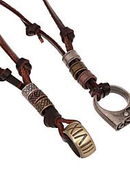 Klassiker (Ring und Feuerzeug) braunes Leder Halskette (zufällige Farbe) (1 PC)