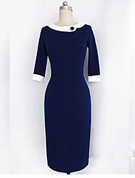 cheap -Monta Slim Fit Three Quarter Sleeves Dress With Lapel