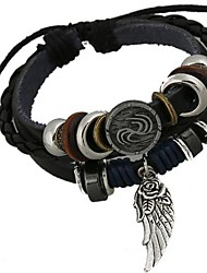 cheap -Men's Leather Charm Bracelet / Wrap Bracelet - Unique Design / Beaded / Fashion Black Bracelet For Christmas Gifts / Daily / Men's