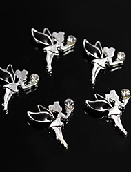 cheap -10pcs Black Alloy Rhinestone Fairy Angel 3D Alloy Nail Art Decoration