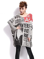cheap -QLZW®Women's Fashion Print Loose Long Sleeves Knitwear Sweater
