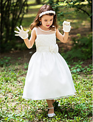A-Line Tea Length Flower Girl Dress - Silk Sleeveless Scoop Neck with Ribbon