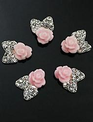 abordables -10pcs fleur arc 3d strass cravate accessoires de bricolage nail art de décoration rose