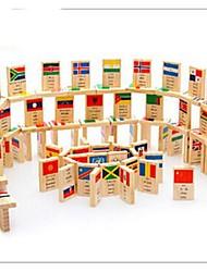 Недорогие -100 частей национальный флаг деревянные знаний домино игрушки