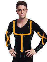 Man Slimming Thermal Underwear Shirt Long Sleeve Body Shaper Firm Tummy Belly Bust Nylon Black NY102