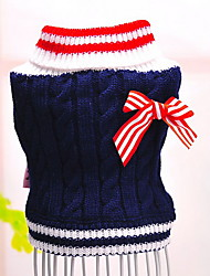 cheap -Dog Sweater Dog Clothes Casual/Daily Fashion Color Block Red Blue Costume For Pets