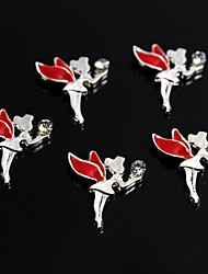 cheap -10pcs Red Alloy Rhinestone Fairy Angel 3D Alloy Nail Art Decoration