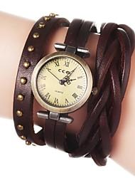 Damen Modeuhr Armband-Uhr Quartz PU Band Blume Böhmische Schwarz Weiß Blau Rot Braun Grün