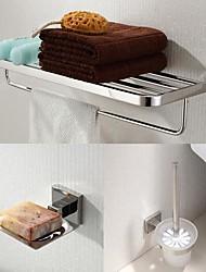 abordables -Acier inoxydable 304 accessoires de salle de bain 3 pièces mis en porte-serviettes et porte-balais de toilette et savon
