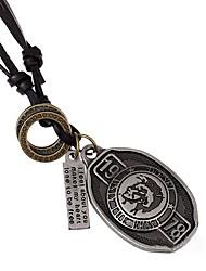 Недорогие -Муж. Ожерелья с подвесками - Кожа Золотой, Серебряный Ожерелье Бижутерия Назначение Повседневные