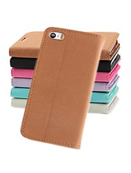 cheap -Case For iPhone 5 / Apple iPhone 5 Case Wallet / Card Holder / with Stand Full Body Cases Solid Colored Hard PU Leather for iPhone SE / 5s / iPhone 5