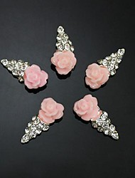 cheap -10pcs   Pink Flower Shape IceCream 3D Rhinestone DIY Accessories Nail Art Decoration