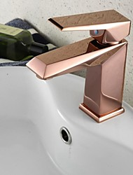 Contemporary Centerset Rotatable with  Ceramic Valve One Hole Single Handle One Hole for  Rose Gold , Bathroom Sink Faucet