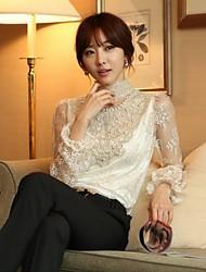 estilos coreano chaoliu lace loong mangas camisa de base
