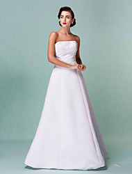 cheap -A-Line Strapless Floor Length Satin Wedding Dress with Lace by LAN TING BRIDE®