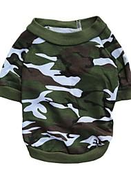 baratos -Gato Cachorro Camiseta Roupas para Cães camuflagem Cor camuflagem Algodão Ocasiões Especiais Para animais de estimação