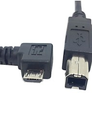 0.3m um pé direito em ângulo de 90 graus micro USB OTG para Impressora Scanner b tipo padrão cabo de disco rígido frete grátis
