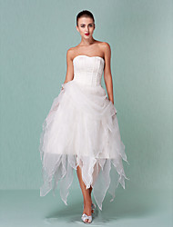 A-Line Princess Sweetheart Asymmetrical Organza Wedding Dress with Draped by LAN TING BRIDE®