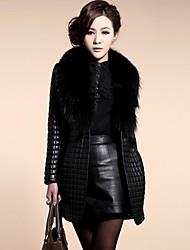 Damenmode Pelz colar reine Farbe Fellimitat warm langen Mantel
